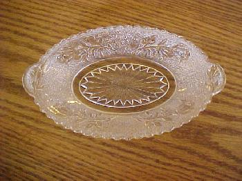 1880's Bryce Brothers Rose in Snow Pickle or Olive Dish