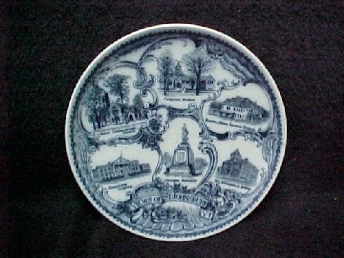 St. Johnsbury Vermont/VT Flow Blue Souvenir Plate
