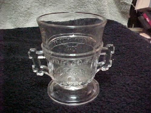 EAPG Scroll with Flowers Double Handled Egg Cup/Eggcup