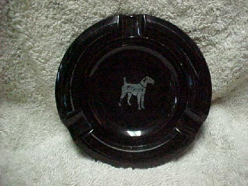 Depression Black Amethyst Ashtray w/Silver Overlay Terrier
