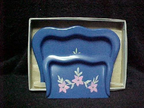 Blue Celluloid 2 Piece Crumb/Crumber Set with Box