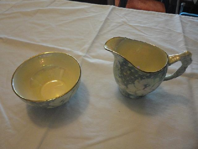 Royal Winton Brocade Blue Chintz Creamer/Sugar