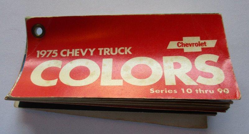 1975 Chevrolet Truck Pocket Size Color Chart