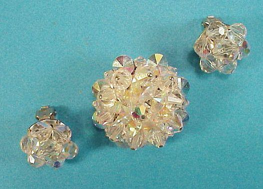 Auora Borealis Crystal Brooch and Earring Set 1950s