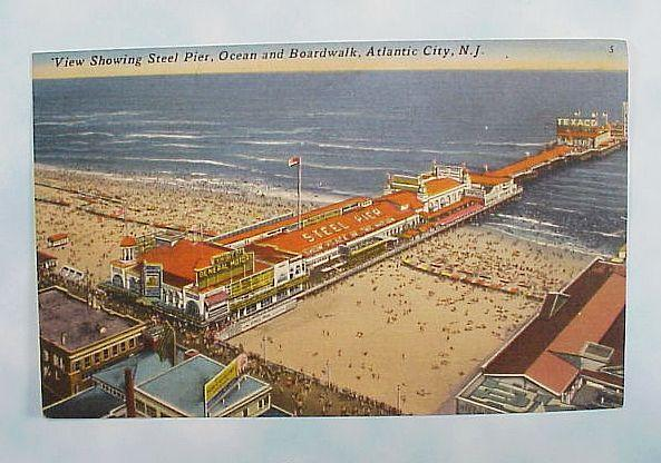 Steel Pier Post Card Atlantic City New Jersey 1930s
