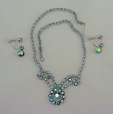 Retro 1950s Blue Green Rhinestone Necklace & Earring Set