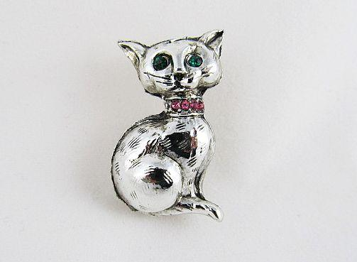 Retro 1960s Silver and Rhinestone Cat Pin Brooch