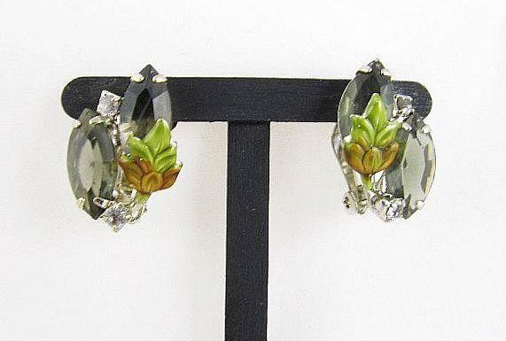 Retro 1950,1960s Juliana Style Crystal & Rhinestone Earrings