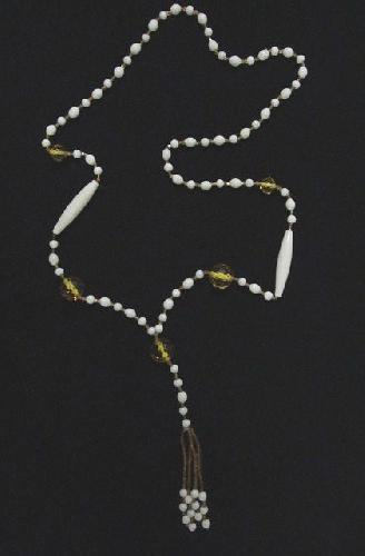 Victorian Citrine and Milk Glass Bead Necklace