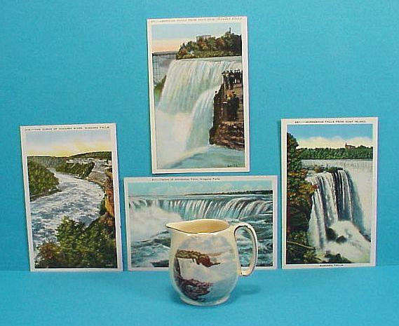 4 Niagara Falls Post Cards 1930s  + Royal Winton Creamer