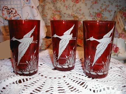 Three Etched Ruby Glasses