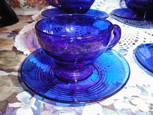 Moondrops Cups and Saucers by New Martinsville Glass