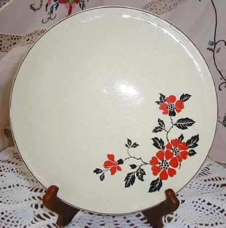Hall Red Poppy Cake Plate