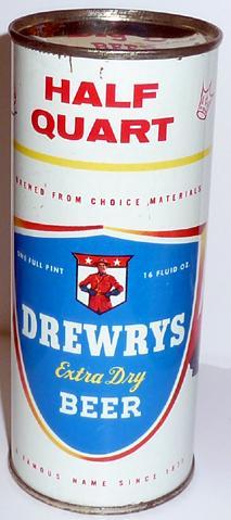 DREWRYS EXTRA DRY BEER HALF QUART TIN