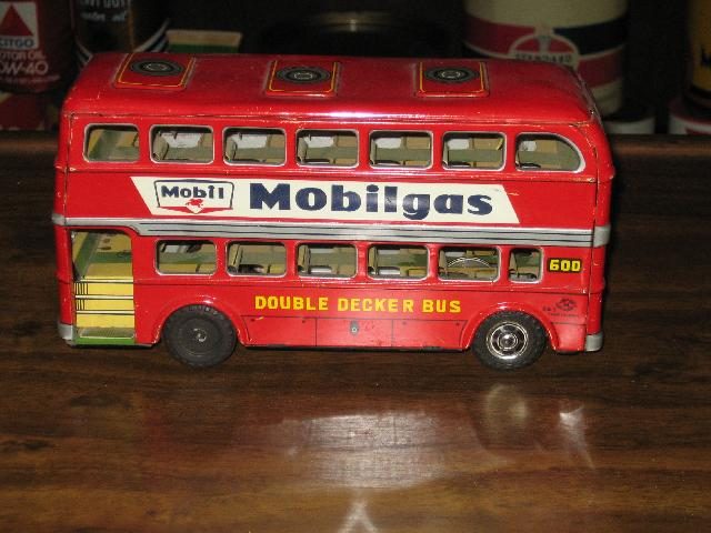 Mobilgas Double Decker Bus, Japan, 1950s, 8 inches long