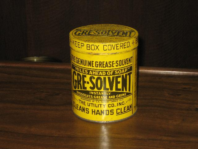 Gre-Solvent large 3 lbs. tin, patented 1903