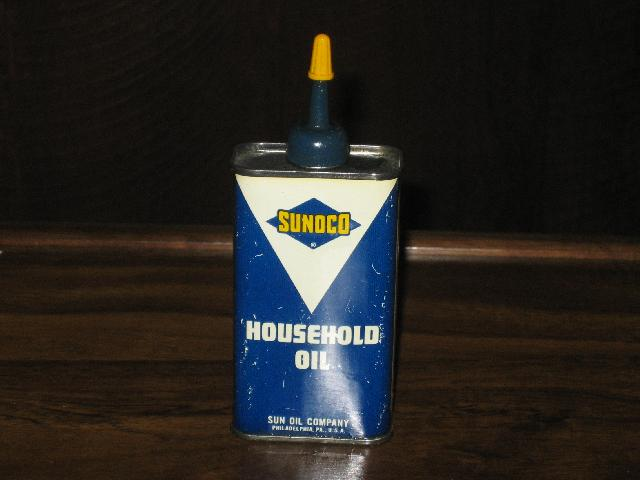Sunoco Household Oil, lighter yellow font in blue triangle