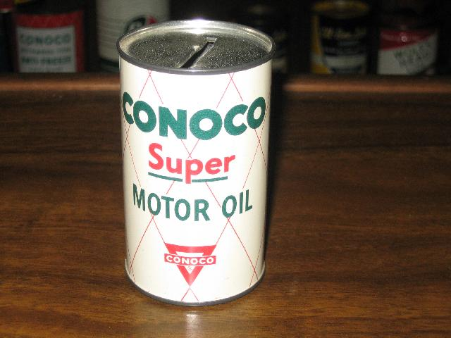 CONOCO Super Motor Oil coin bank tin