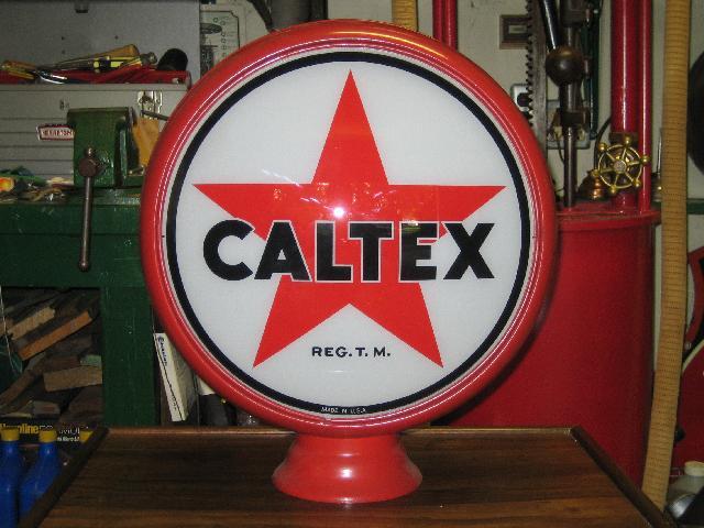 CALTEX scarce early 1940s gas globe on metal body, VINTAGE!