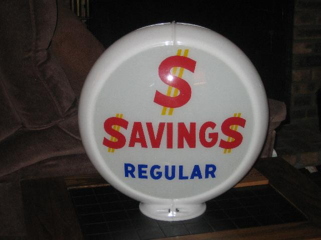 $ $aving$ Regular gas globe, very scarce, VINTAGE