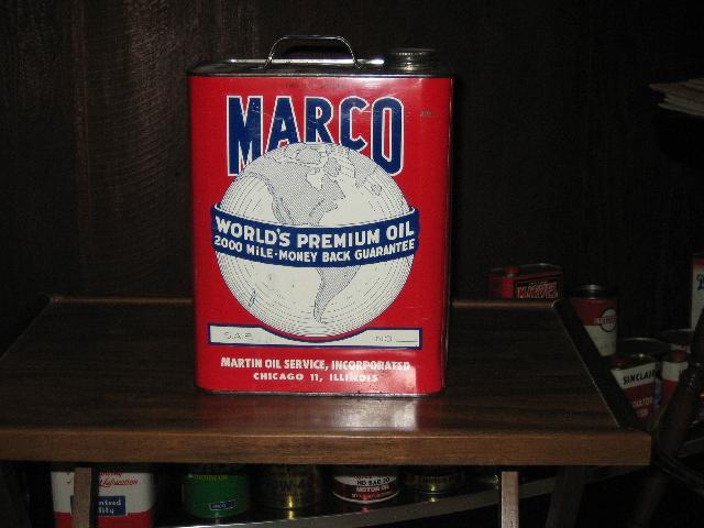 Marco World\'s Premium Oil 2 gallon can, VINTAGE!