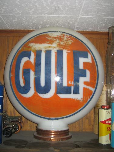 Gulf one-piece baked-on finish Gas Globe 1920s, 85-90 years