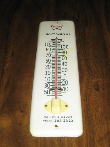 Sinclair Heavy Fuel Oils metal thermometer, scarce! VINTAGE