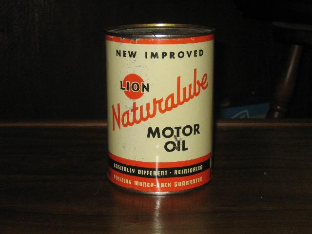 Lion Naturalube Motor Oil quart can, FULL, VINTAGE!