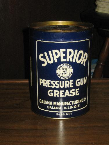 Superior Pressure Gun Grease Tin 5 lbs., Galena Manuf. Co.