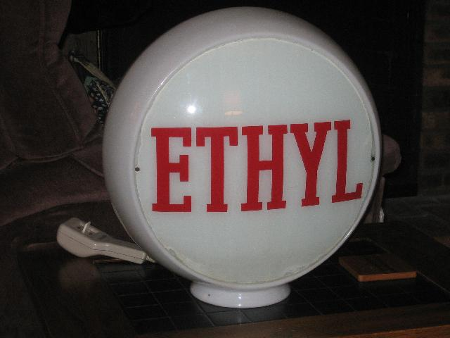 ETHYL gas globe on wide glass body, VINTAGE!