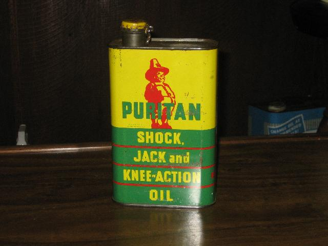 Puritan Shock Jack and Knee Action Oil tin, VINTAGE!