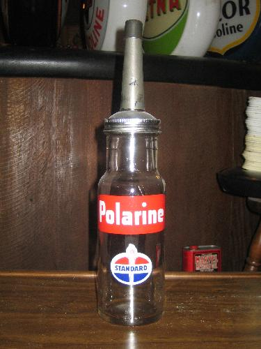 Standard Oil Company Polarine 1 quart oil bottle,VINTAGE!