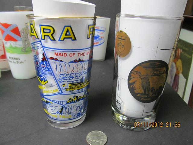 Hazel Atlas Niagara Falls Souvenir Glass + One From Canada