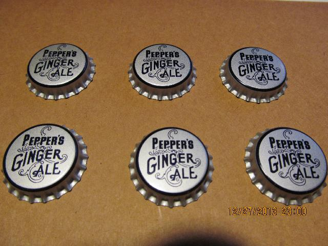 PEPPER'S GINGER ALE SODA CAPS CORK LINED SET OF 6 UNCRIMPED
