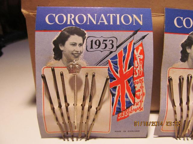QUEEN ELIZABETH CORONATION 1953 BOBBY PINS FULL CASE OF 72