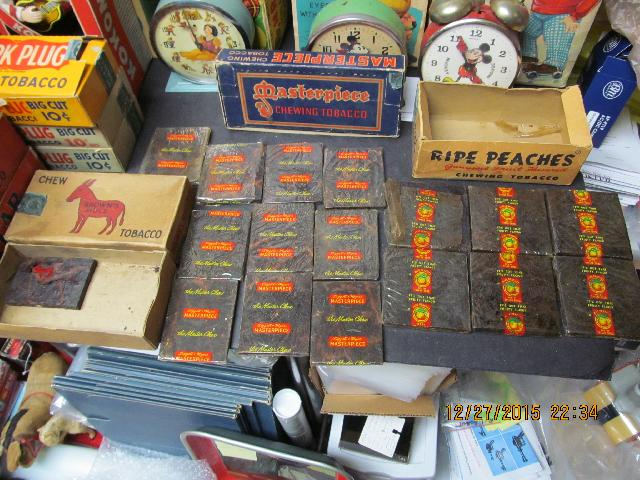VINTAGE CHEWING TOBACCO BOXED RIPE PEACHES, MASTERPIECE, ETC