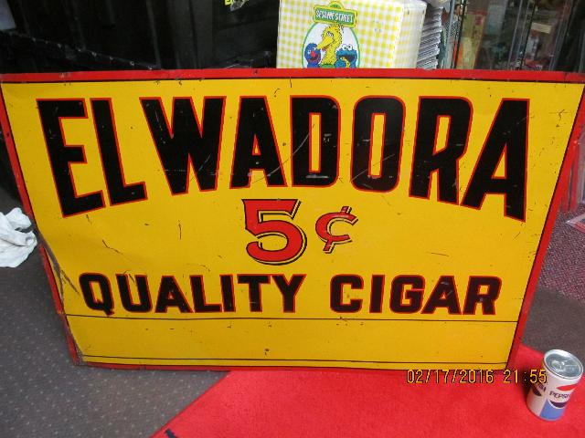 EL WADORA VINTAGE 5 CENT TIN CIGAR ADVERTISING SIGN 1950s