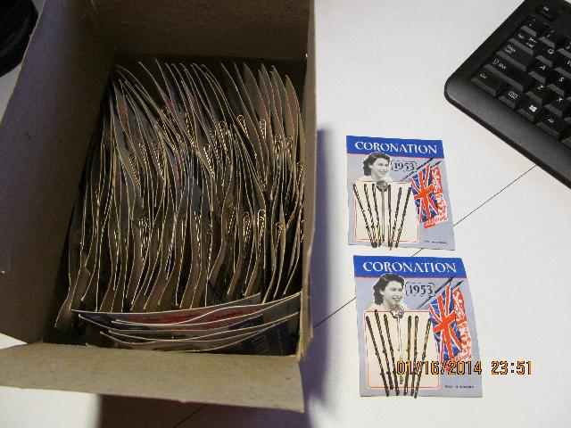QUEEN ELIZABETH CORONATION 1953 BOBBY PINS FULL CASE OF 72