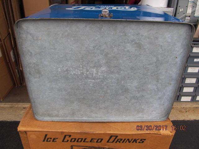 PEPSI COLA BLUE METAL PICNIC COOLER 1953 IN BOX EXC COND