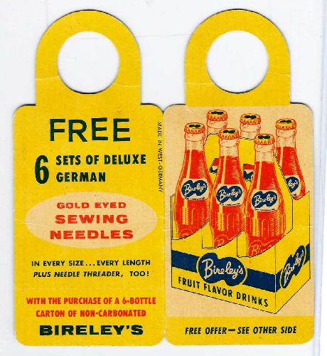 Bireley's Fruit Flavor Drinks Bottle Hanger & Needle Casing