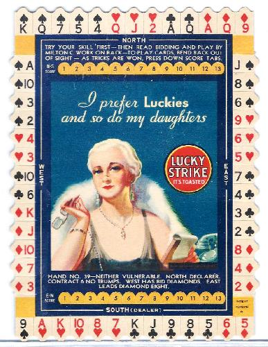 Lucky Strike Bridge Game Card. Hand No. 39. c1920s-30s