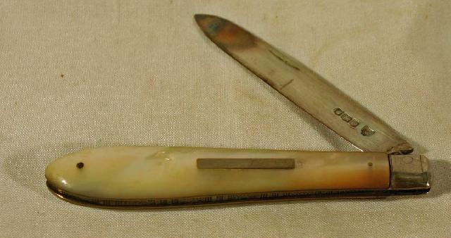 Mother of Pearl and Sterling Silver Fruit Knife c1922