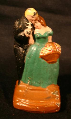 Vintage Cast Iron Naughty Groom and Bride 3 lb. Paperweight.