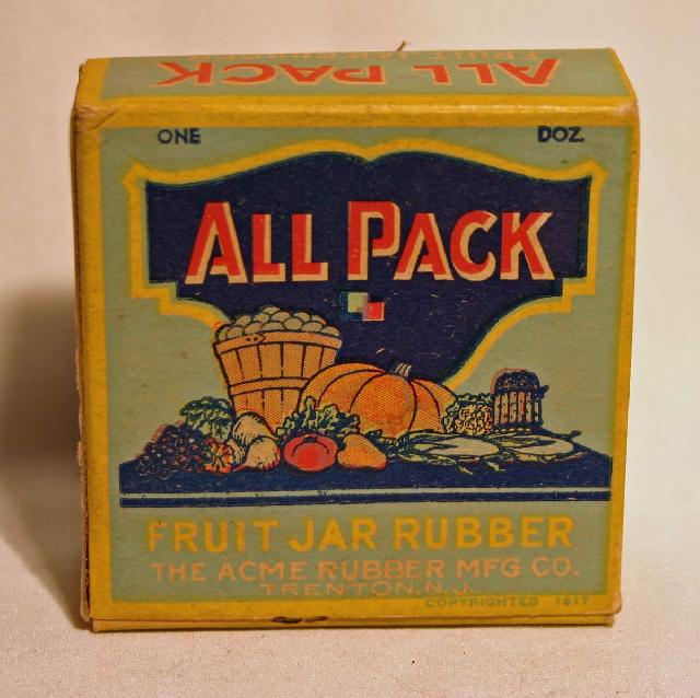 Vintage All Pack Fruit Jar Rubber Box (Full). Trenton, N.J.