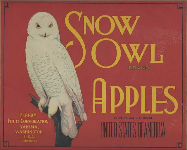 Vintage Snow Owl Brand Apples Crate Label(red). 1930's.