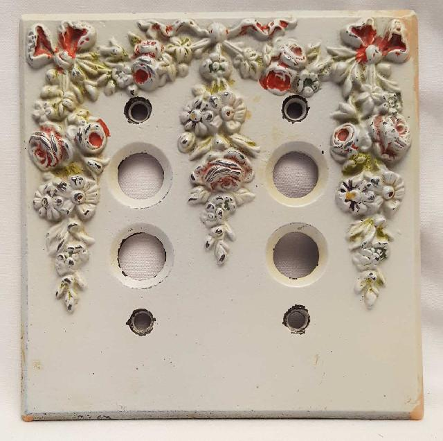 Vintage Cast Iron Floral Design Switch Plate (Double switch)