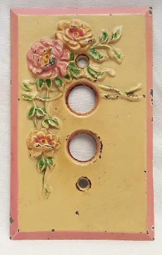 Vintage Cast Iron Floral Design Switch Plate. Made by Hubley