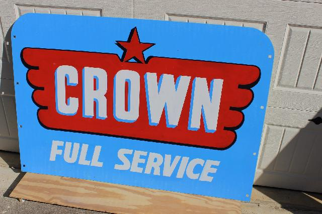 VINTAGE CROWN FULL SERVICE SIGN - HEAVY STEEL SIGN