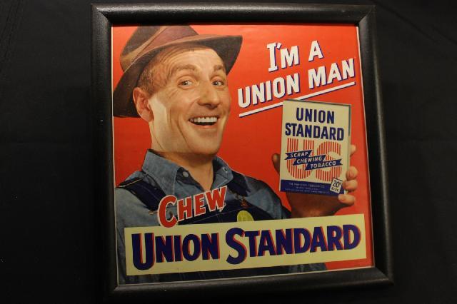 FRAMED UNION STANDARD TOBACCO SIGN